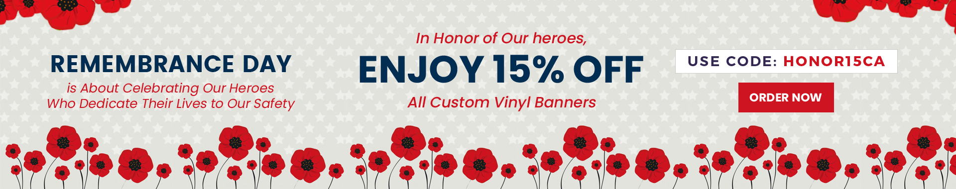 15% off All Custom Vinyl Banners for Remembrance Day