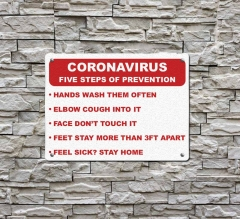 Coronavirus Five Steps of Prevention Compliance signs