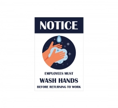 Notice Employees Must Wash Hands Vinyl Posters