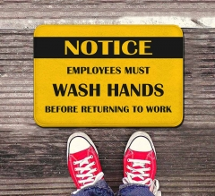 Notice Employees Must Wash Hands Indoor Floor Mats