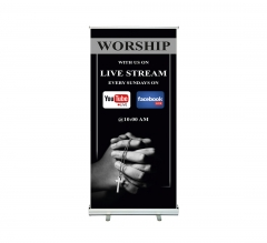 Worship with Us on Livestream Roll up Banner Stands