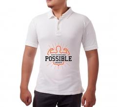 White Cotton Polo Shirt - Printed