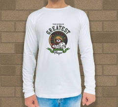 White Cotton Printed Long Sleeves T-Shirt - Crew Neck