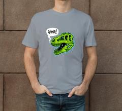Custom Grey Printed T-Shirt - Crew Neck