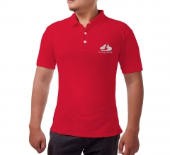 Red Cotton Polo Shirt - Embroidered