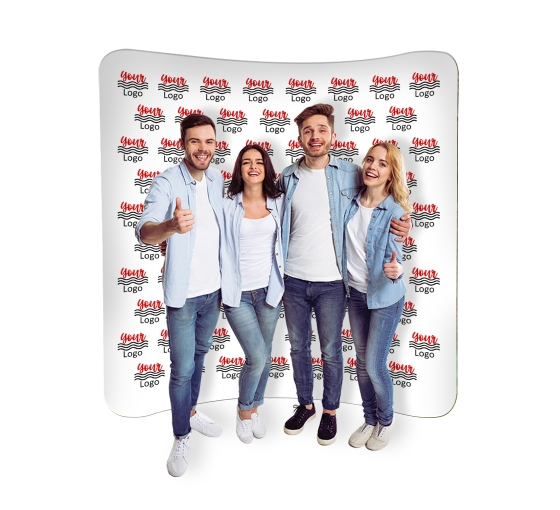 8 ft x 8 ft Step and Repeat Curved Pillow Case Backdrop