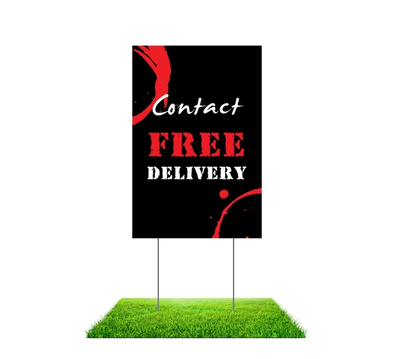 Contact Free Delivery Yard Signs (Non reflective)