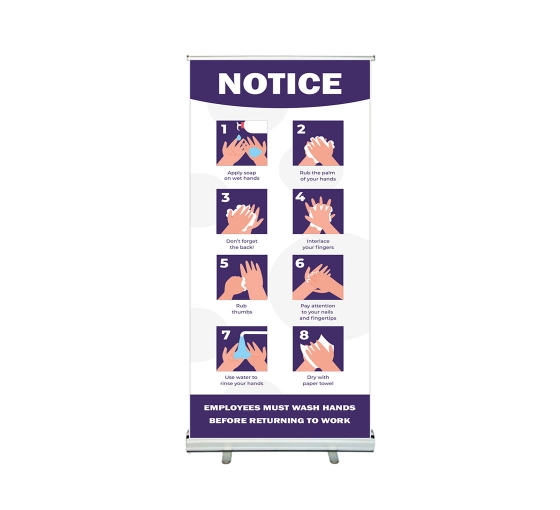Notice Employees Must Wash Hands Roll Up Banner Stands