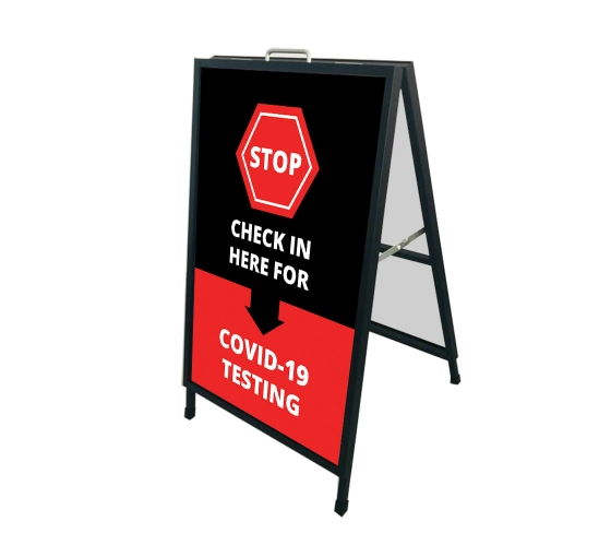 Stop Check in Here for Covid-19 Testing Metal Frames