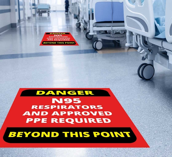 Danger Approved PPE Beyond this Point Floor Decals