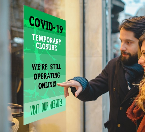 Covid-19 Temporary Closure Window Decals