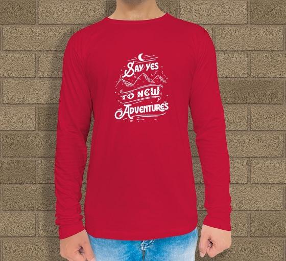 Custom Red Printed Long Sleeves T-Shirt - Crew Neck
