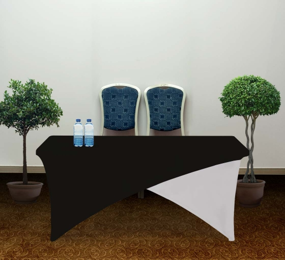 6' Cross Over Table Covers - Black & White