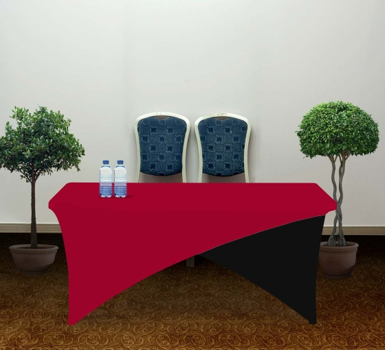 6' Cross Over Table Covers - Red & Black