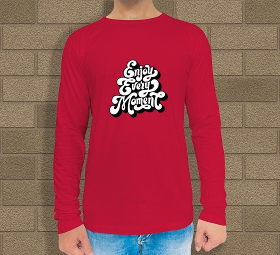 Red Cotton Printed Long Sleeves T-Shirt - Crew Neck