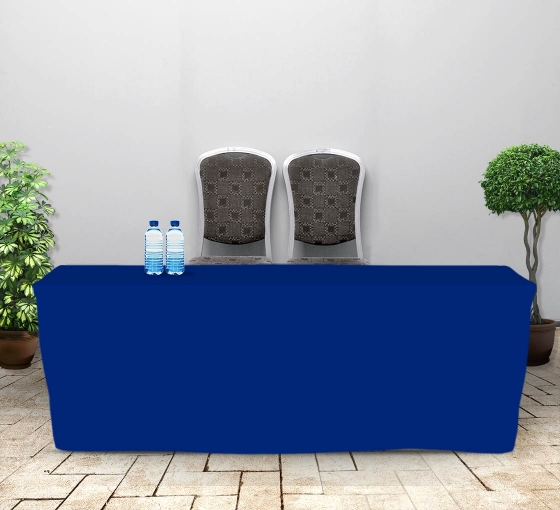 8' Fitted Table Covers - Blue - Zipper Back