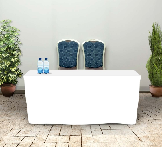6' Fitted Table Covers - White - 4 Sided
