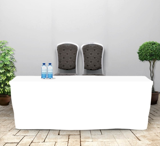 8' Fitted Table Covers - White - Zipper Back