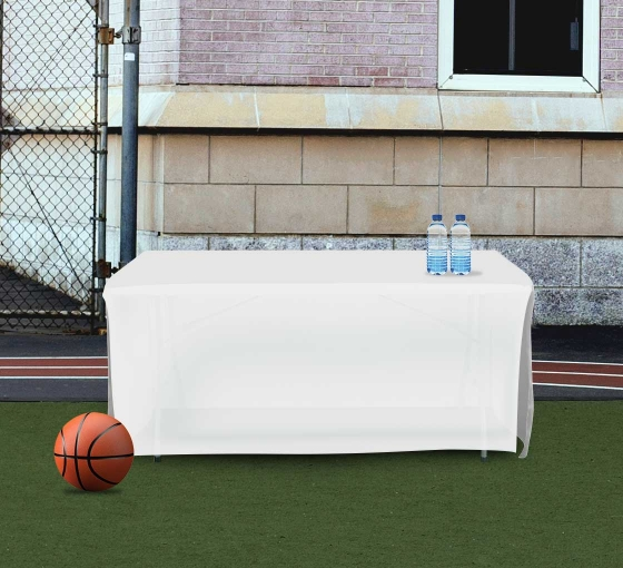 6' Open Corner Table Covers - White - 4 Sided