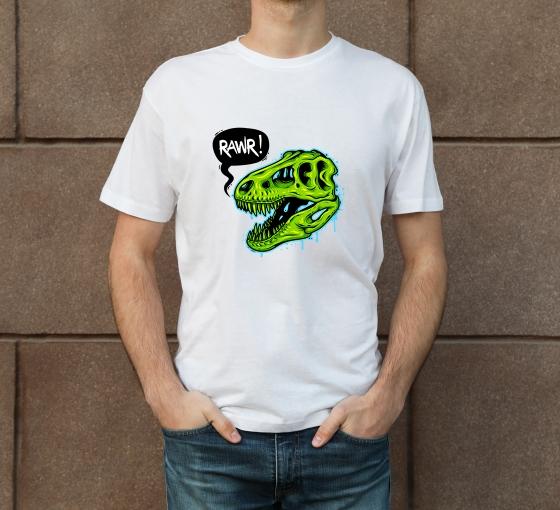 Custom White Printed T-Shirt - Crew Neck