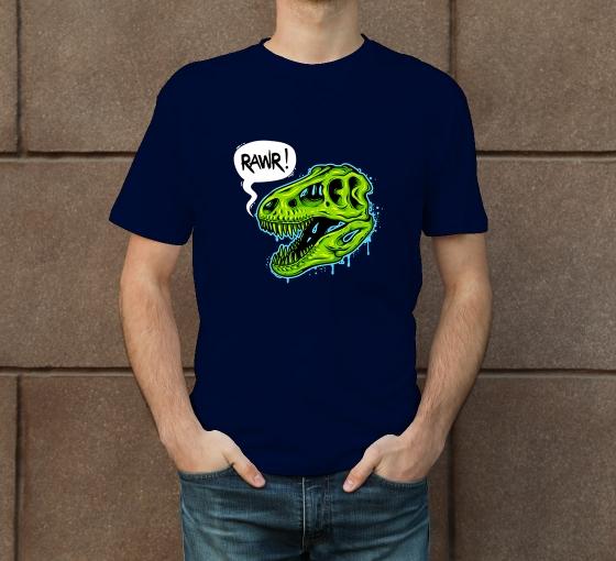 Custom Blue Printed T-Shirt - Crew Neck