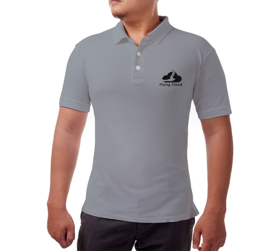 Grey Cotton Polo Shirt - Embroidered