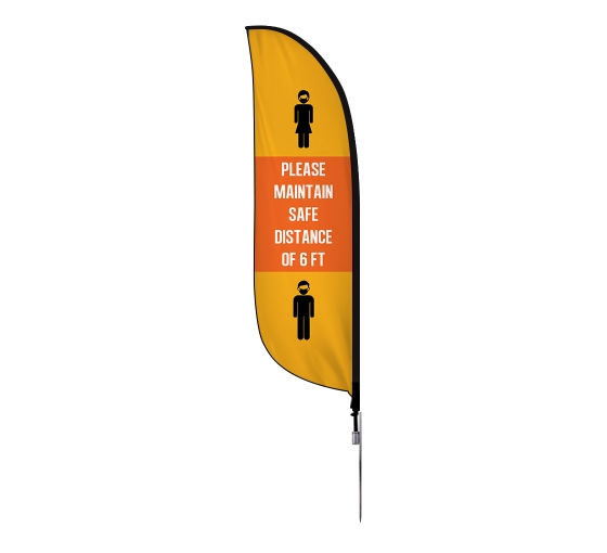 Pre-Printed Maintain Safe Distance Feather Flag